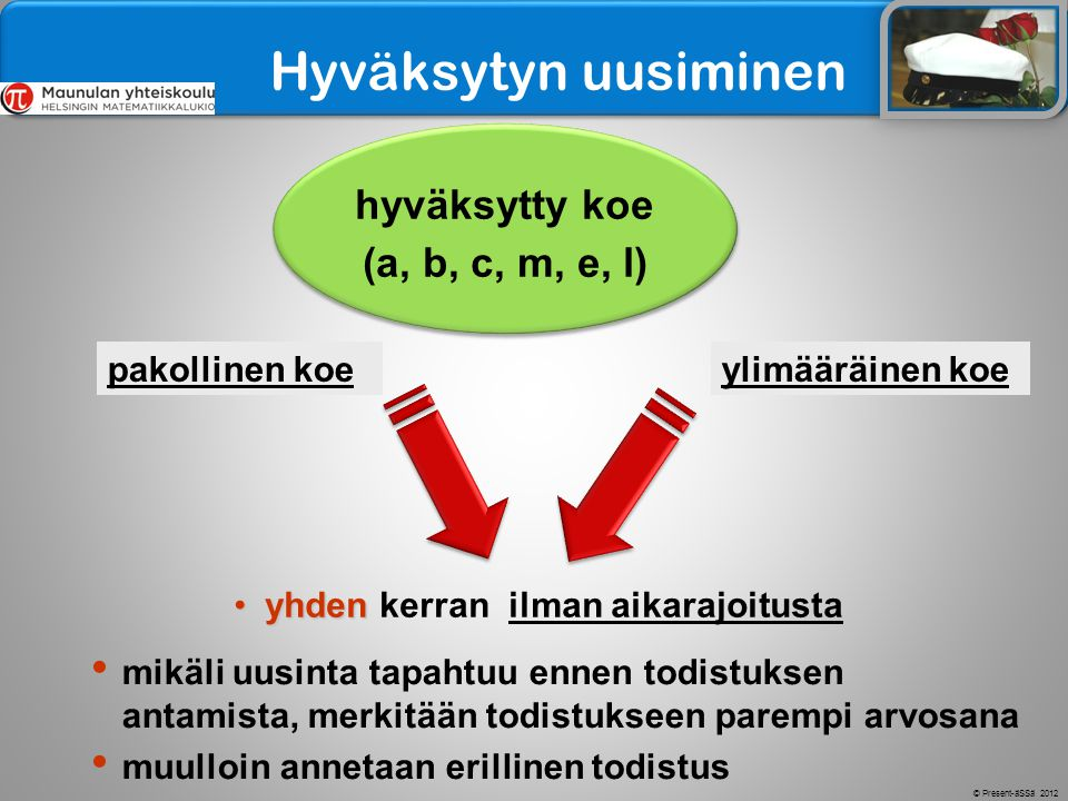 Hyväksytyn uusiminen hyväksytty koe (a, b, c, m, e, l) pakollinen koe