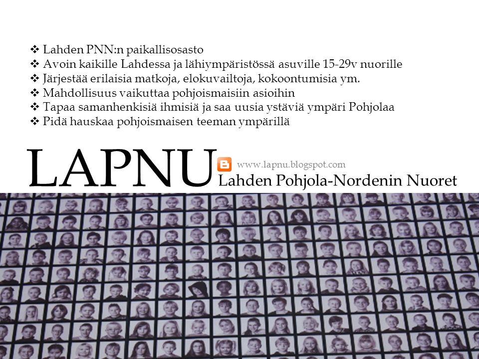 LAPNU Lahden Pohjola-Nordenin Nuoret Lahden PNN:n paikallisosasto