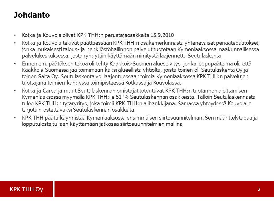 Johdanto Kotka ja Kouvola olivat KPK THH:n perustajaosakkaita 15.9.2010.