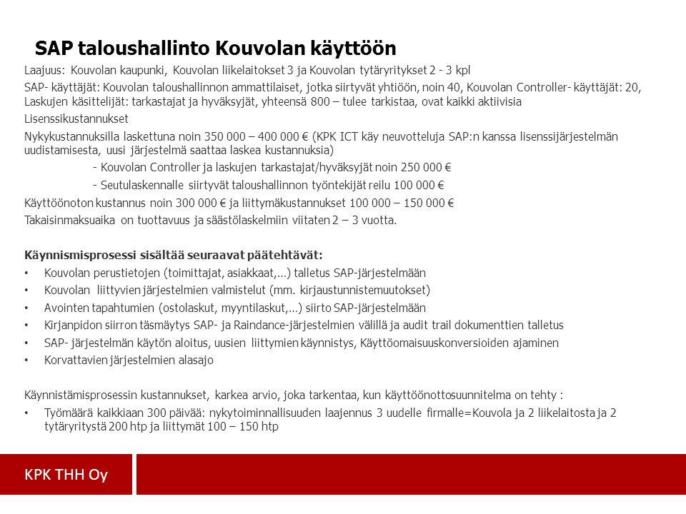 SAP taloushallinto Kouvolan käyttöön