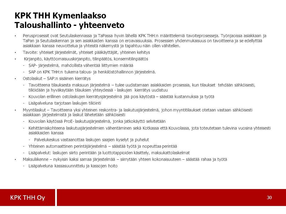 KPK THH Kymenlaakso Taloushallinto - yhteenveto