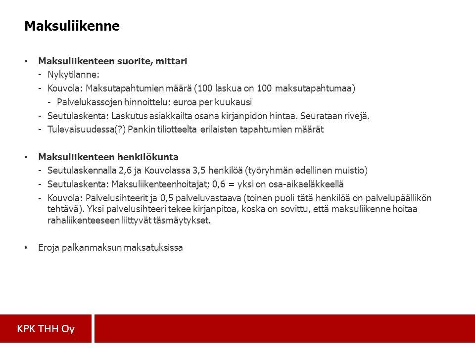 Maksuliikenne Maksuliikenteen suorite, mittari Nykytilanne: