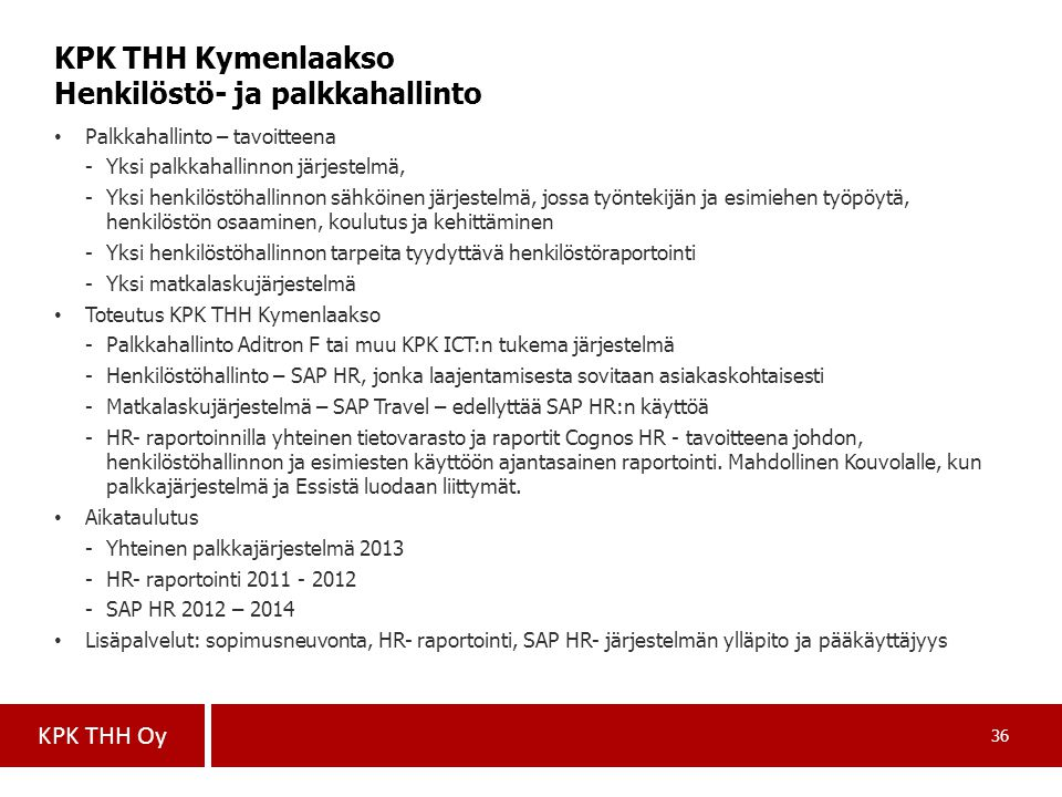 KPK THH Kymenlaakso Henkilöstö- ja palkkahallinto