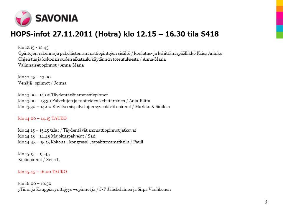 HOPS-infot 27.11.2011 (Hotra) klo 12.15 – 16.30 tila S418