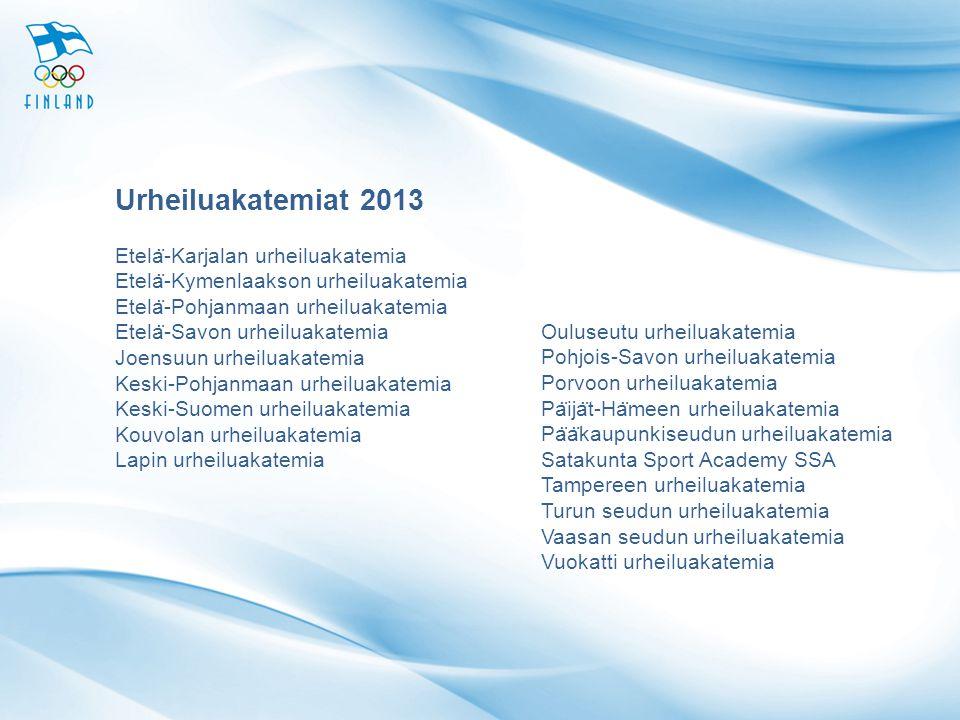 Urheiluakatemiat 2013 Etelä-Karjalan urheiluakatemia Etelä-Kymenlaakson urheiluakatemia.