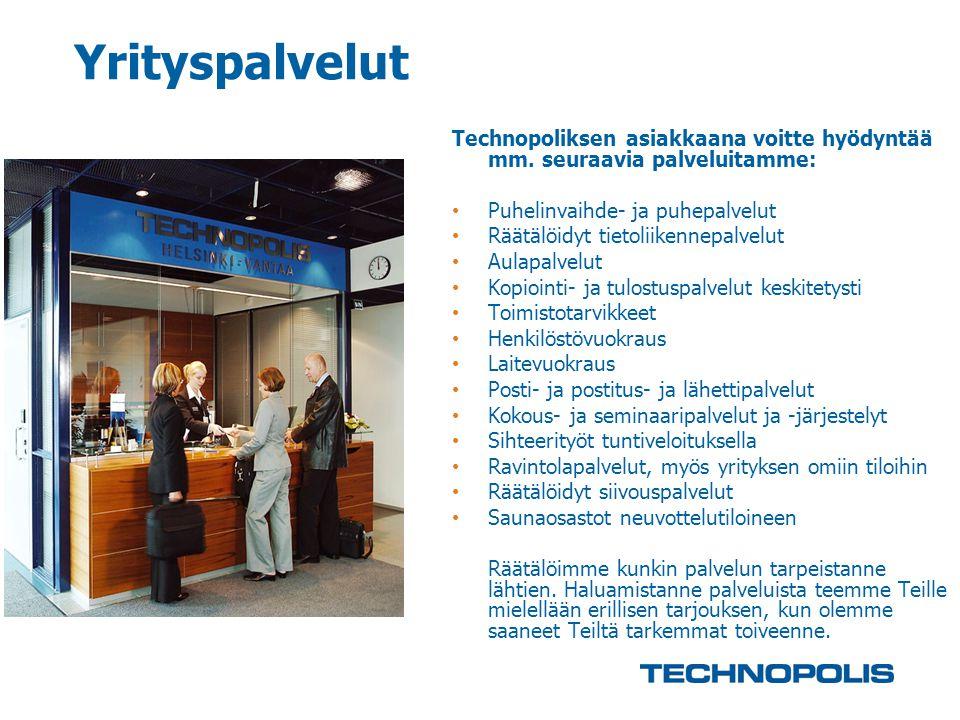 Yrityspalvelut Technopoliksen asiakkaana voitte hyödyntää mm. seuraavia palveluitamme: Puhelinvaihde- ja puhepalvelut.