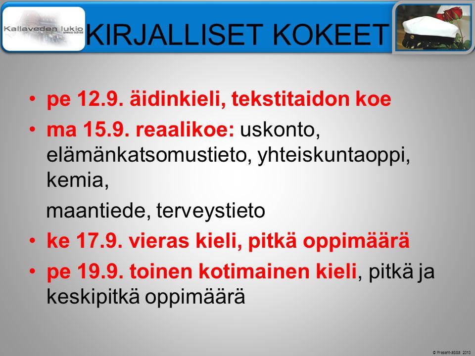 KIRJALLISET KOKEET pe 12.9. äidinkieli, tekstitaidon koe