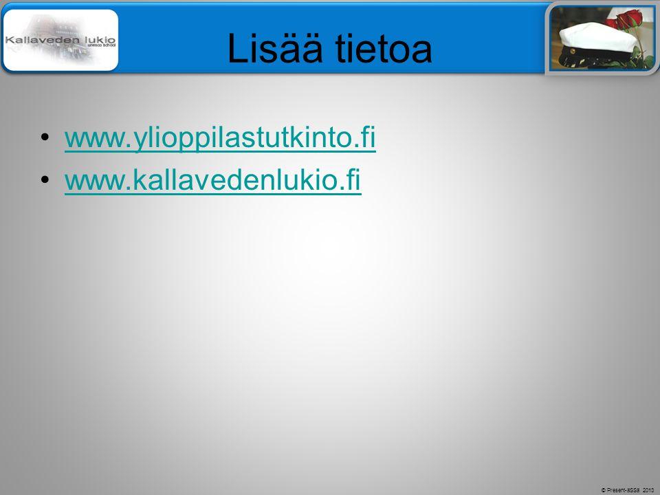 Lisää tietoa www.ylioppilastutkinto.fi www.kallavedenlukio.fi