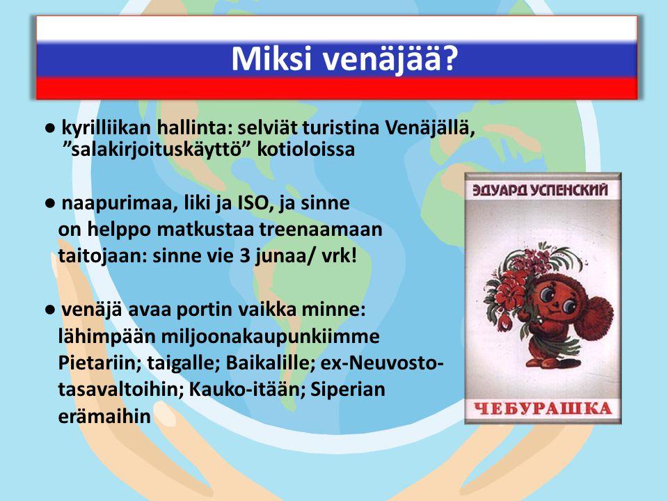 Miksi venäjää ● kyrilliikan hallinta: selviät turistina Venäjällä, salakirjoituskäyttö kotioloissa.