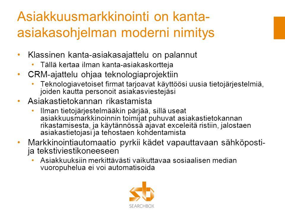 Asiakkuusmarkkinointi on kanta-asiakasohjelman moderni nimitys