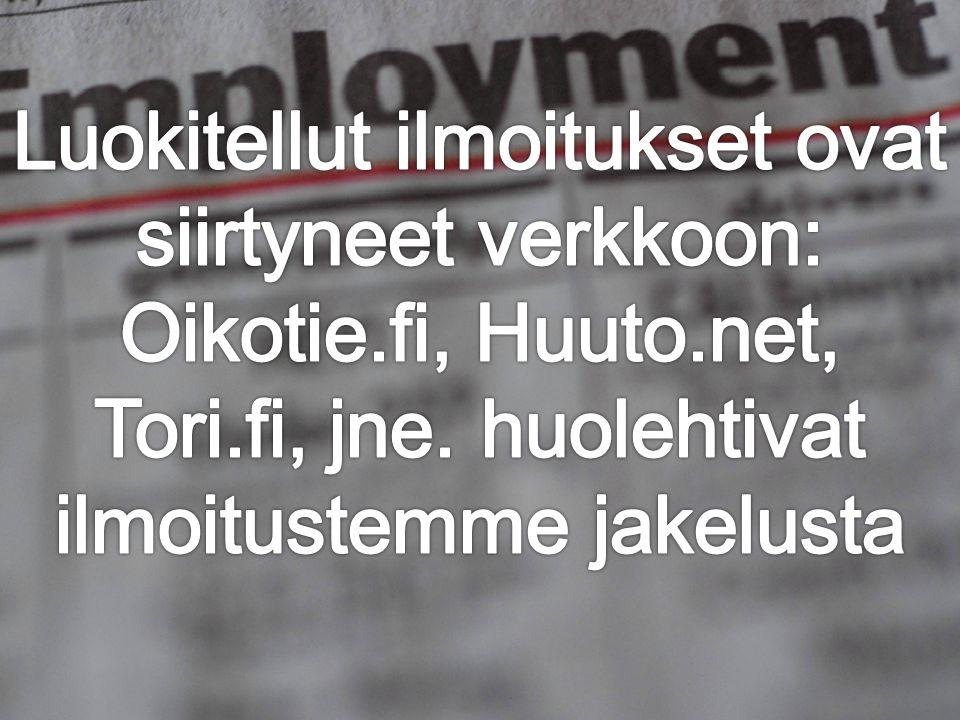 Luokitellut ilmoitukset ovat siirtyneet verkkoon: Oikotie. fi, Huuto
