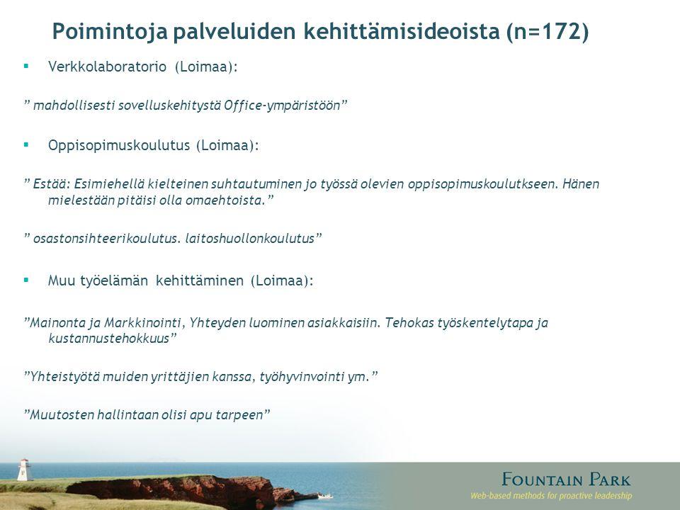 Poimintoja palveluiden kehittämisideoista (n=172)