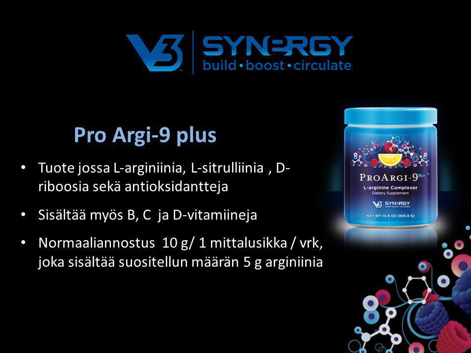 Pro Argi-9 plus Tuote jossa L-arginiinia, L-sitrulliinia , D-riboosia sekä antioksidantteja. Sisältää myös B, C ja D-vitamiineja.