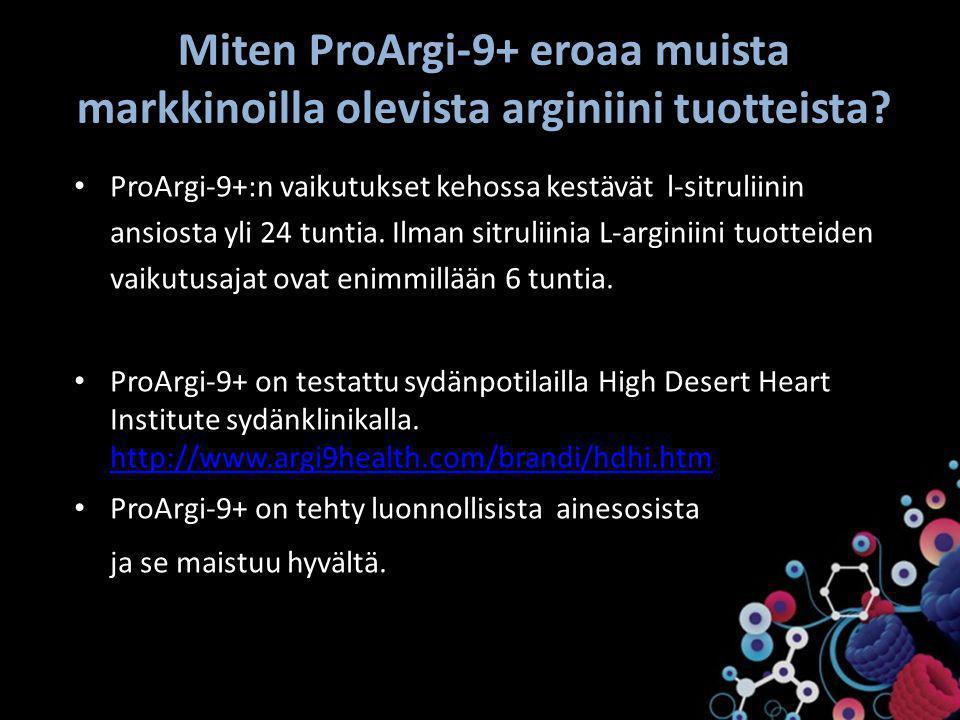 Miten ProArgi-9+ eroaa muista markkinoilla olevista arginiini tuotteista