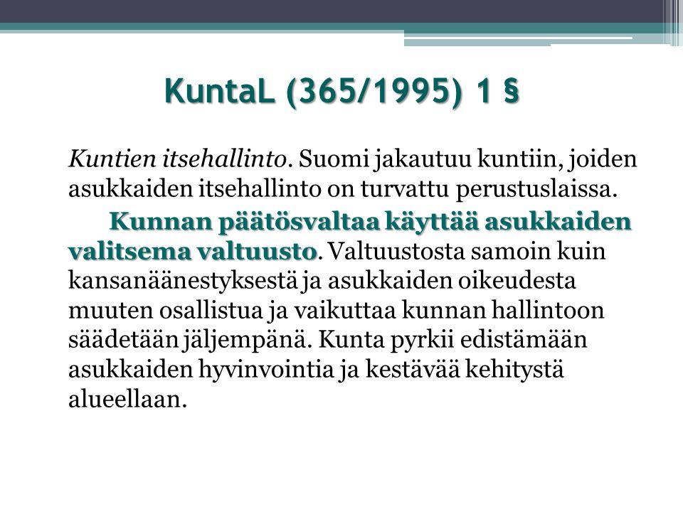 KuntaL (365/1995) 1 § Kuntien itsehallinto. Suomi jakautuu kuntiin, joiden asukkaiden itsehallinto on turvattu perustuslaissa.