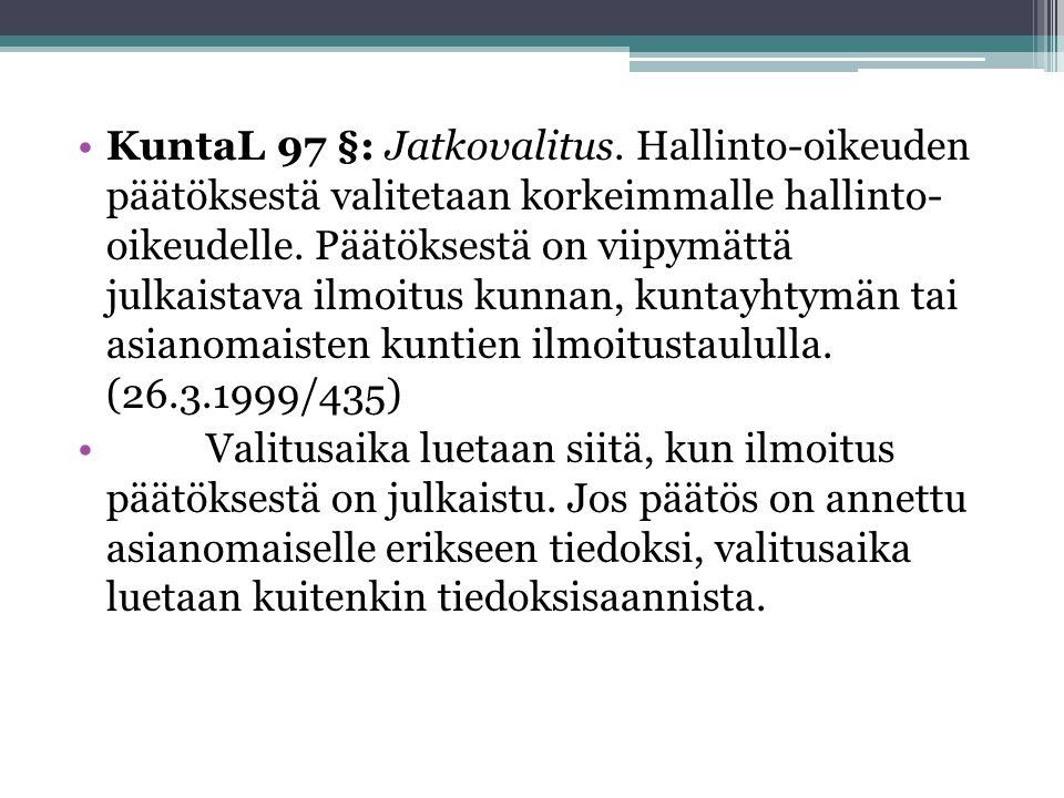 KuntaL 97 §: Jatkovalitus