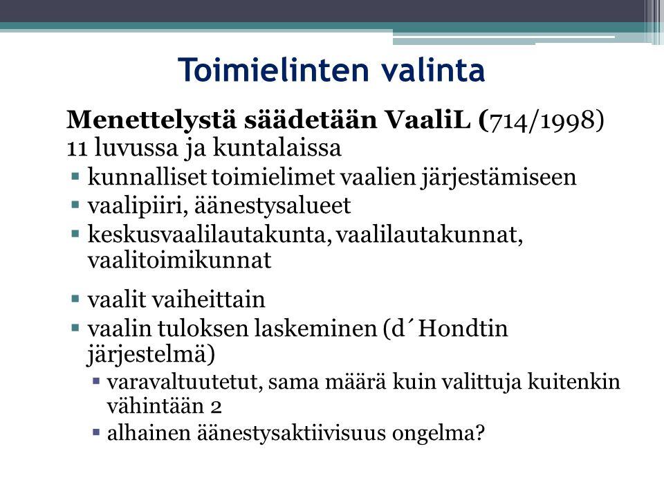 Toimielinten valinta Menettelystä säädetään VaaliL (714/1998) 11 luvussa ja kuntalaissa. kunnalliset toimielimet vaalien järjestämiseen.