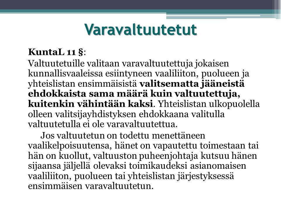 Varavaltuutetut KuntaL 11 §: