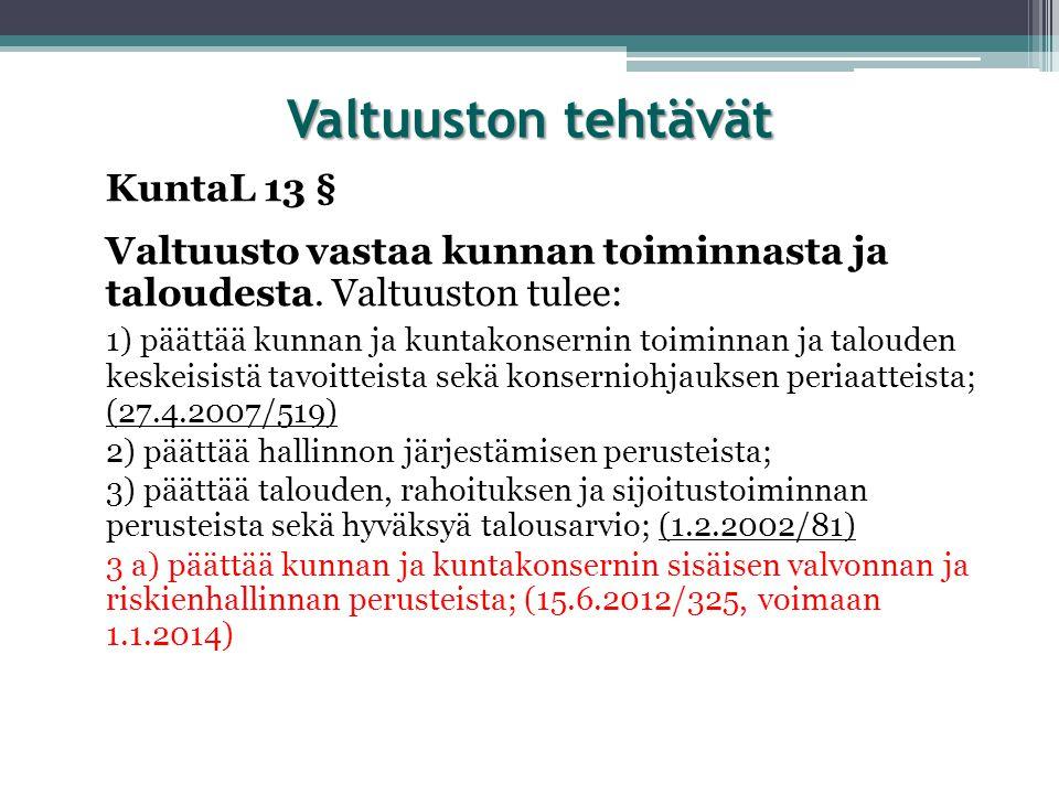 Valtuuston tehtävät KuntaL 13 §