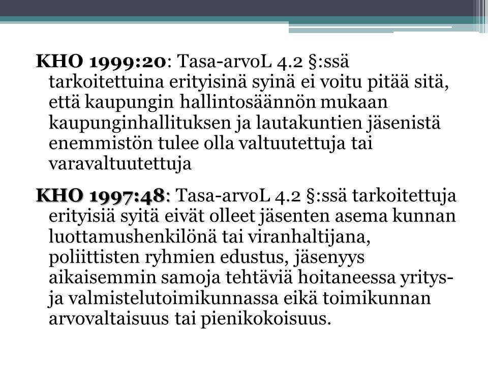 KHO 1999:20: Tasa-arvoL 4.2 §:ssä tarkoitettuina erityisinä syinä ei voitu pitää sitä, että kaupungin hallintosäännön mukaan kaupunginhallituksen ja lautakuntien jäsenistä enemmistön tulee olla valtuutettuja tai varavaltuutettuja