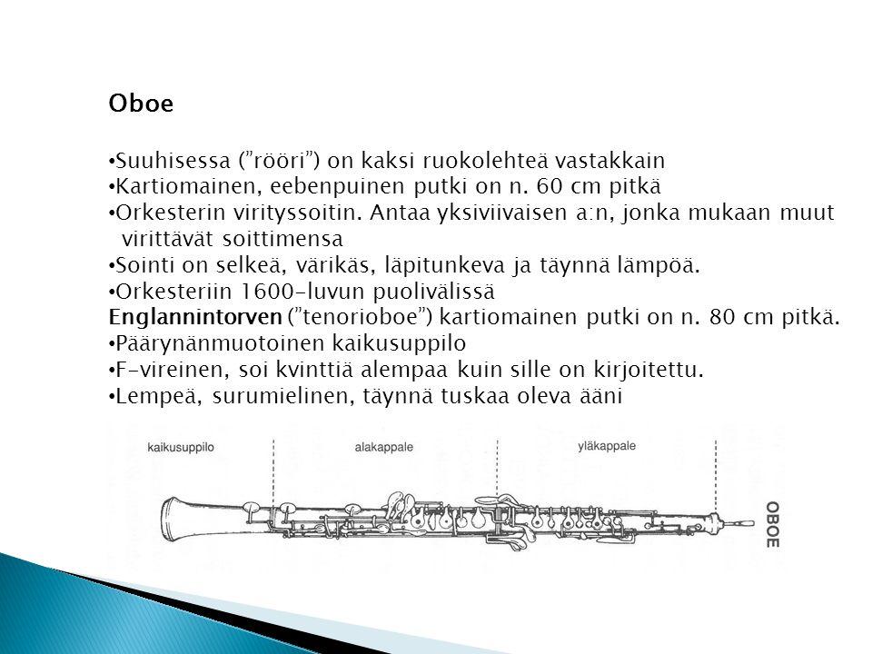 Oboe Suuhisessa ( rööri ) on kaksi ruokolehteä vastakkain