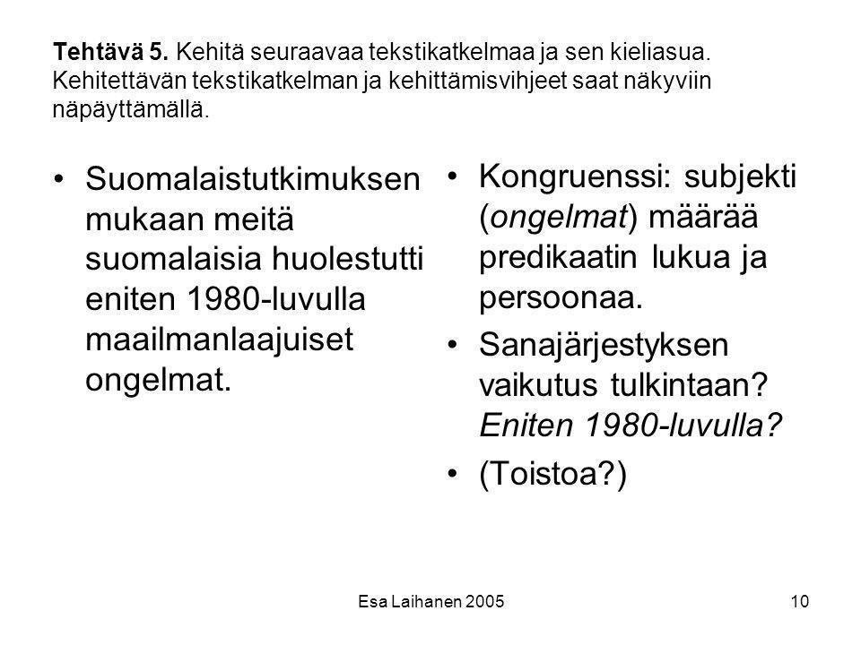 Sanajärjestyksen vaikutus tulkintaan Eniten 1980-luvulla