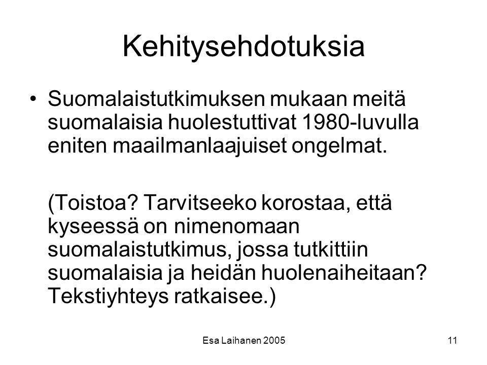 Kehitysehdotuksia Suomalaistutkimuksen mukaan meitä suomalaisia huolestuttivat 1980-luvulla eniten maailmanlaajuiset ongelmat.