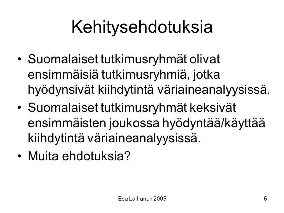 Kehitysehdotuksia Suomalaiset tutkimusryhmät olivat ensimmäisiä tutkimusryhmiä, jotka hyödynsivät kiihdytintä väriaineanalyysissä.
