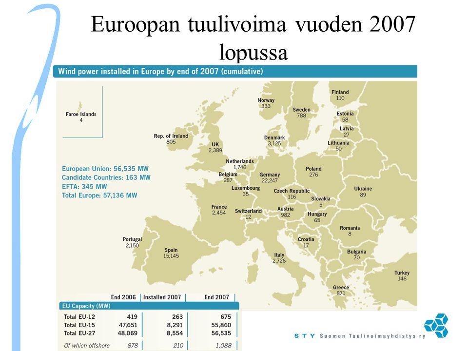 Euroopan tuulivoima vuoden 2007 lopussa