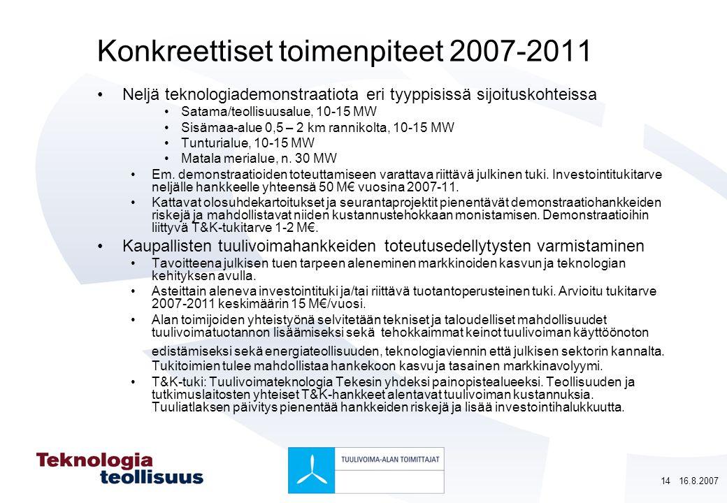 Konkreettiset toimenpiteet 2007-2011