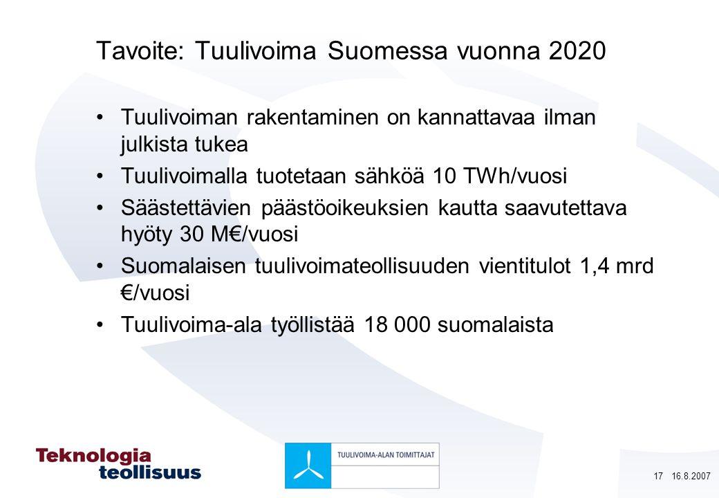 Tavoite: Tuulivoima Suomessa vuonna 2020