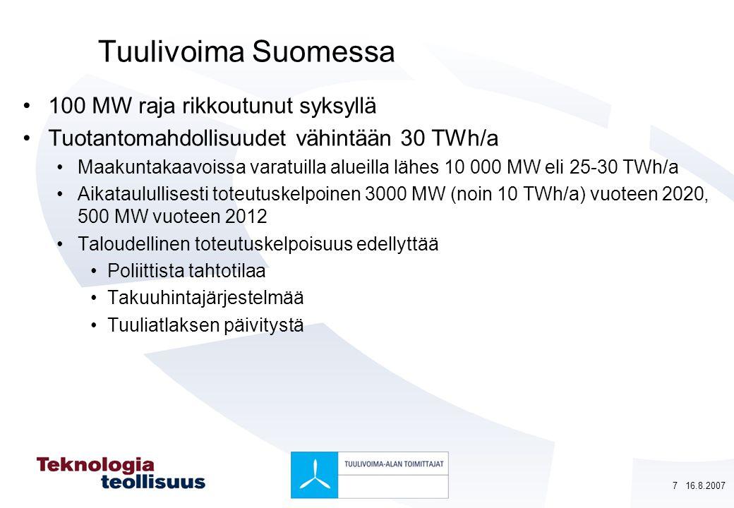 Tuulivoima Suomessa 100 MW raja rikkoutunut syksyllä