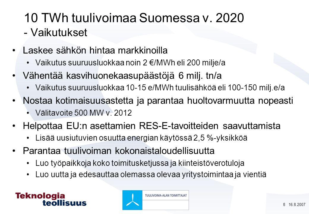 10 TWh tuulivoimaa Suomessa v. 2020 - Vaikutukset