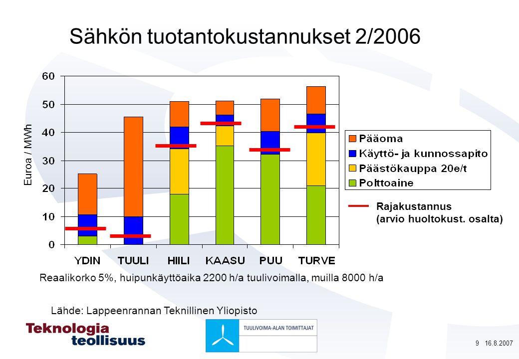 Sähkön tuotantokustannukset 2/2006