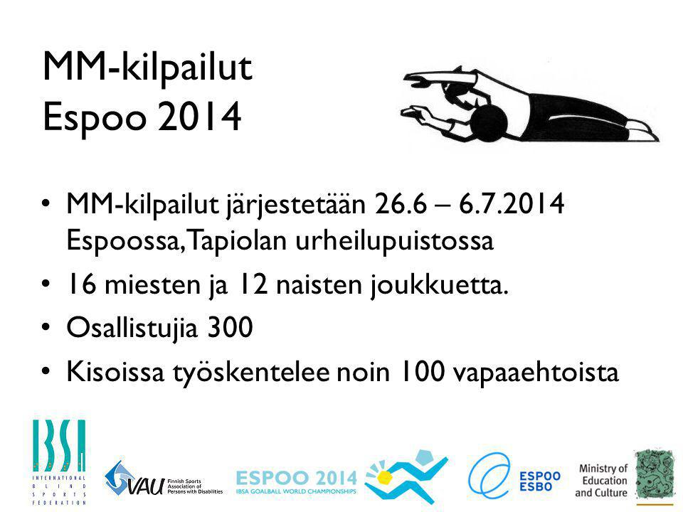 MM-kilpailut Espoo 2014 MM-kilpailut järjestetään 26.6 – 6.7.2014 Espoossa, Tapiolan urheilupuistossa.