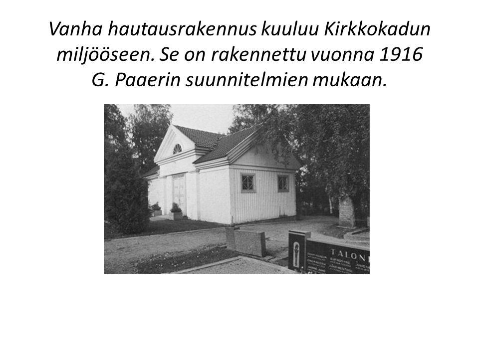 Vanha hautausrakennus kuuluu Kirkkokadun miljööseen