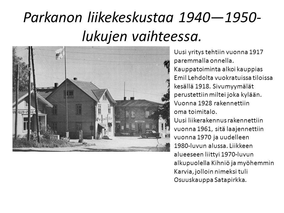Parkanon liikekeskustaa 1940—1950-lukujen vaihteessa.