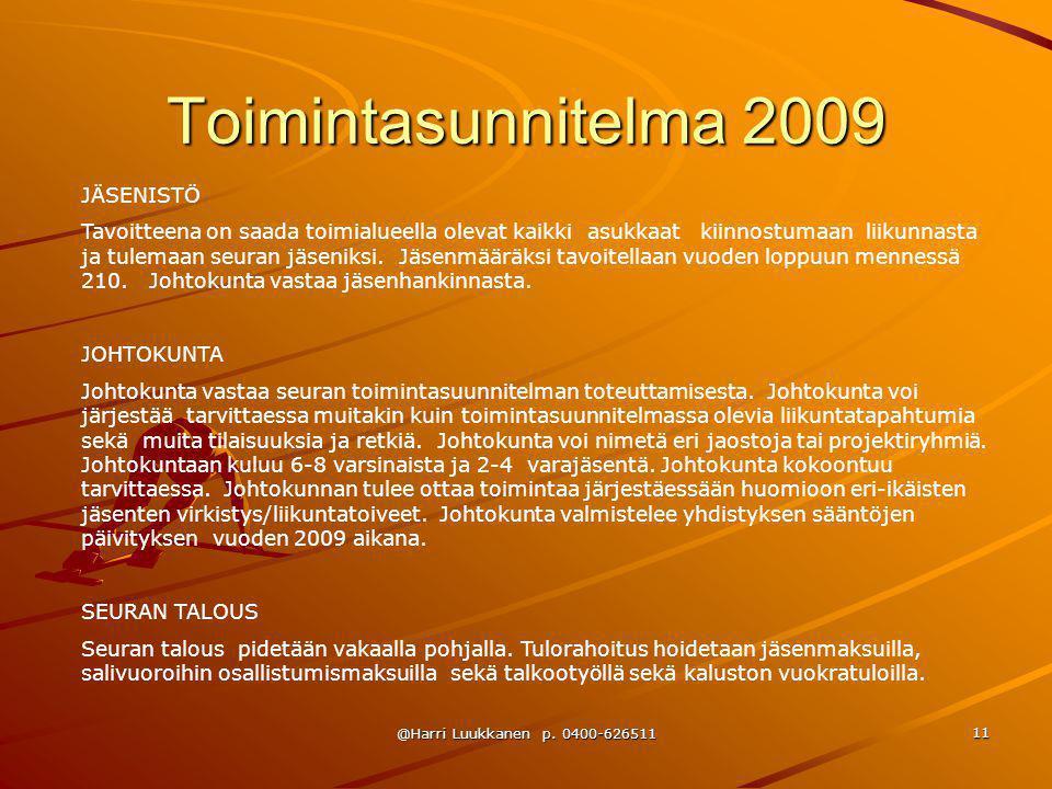 Toimintasunnitelma 2009 JÄSENISTÖ