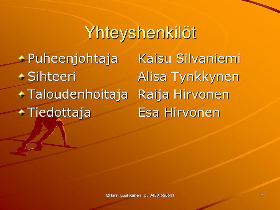 Yhteyshenkilöt Puheenjohtaja Kaisu Silvaniemi Sihteeri Alisa Tynkkynen