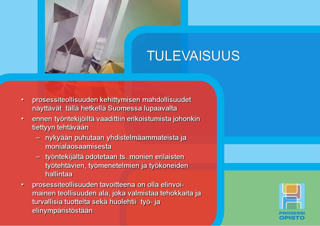 TULEVAISUUS prosessiteollisuuden kehittymisen mahdollisuudet näyttävät tällä hetkellä Suomessa lupaavalta.