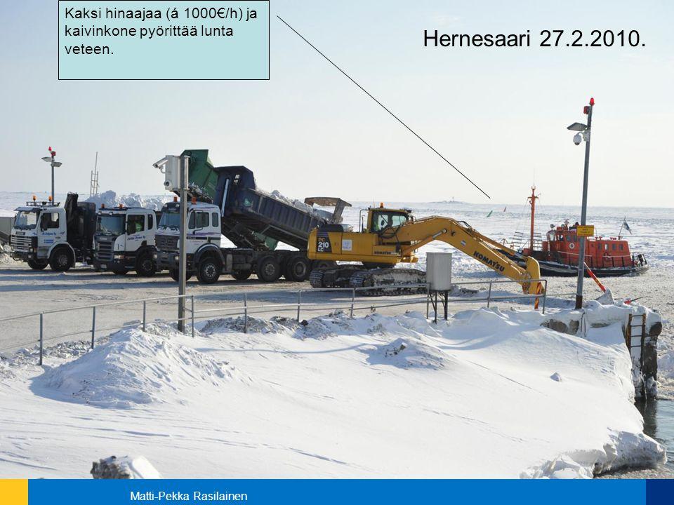 Kaksi hinaajaa (á 1000€/h) ja kaivinkone pyörittää lunta veteen.