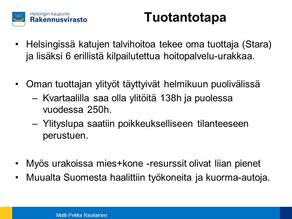 Tuotantotapa Helsingissä katujen talvihoitoa tekee oma tuottaja (Stara) ja lisäksi 6 erillistä kilpailutettua hoitopalvelu-urakkaa.