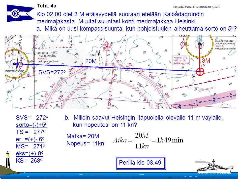 Klo 02.00 olet 3 M etäisyydellä suoraan etelään Kalbådagrundin