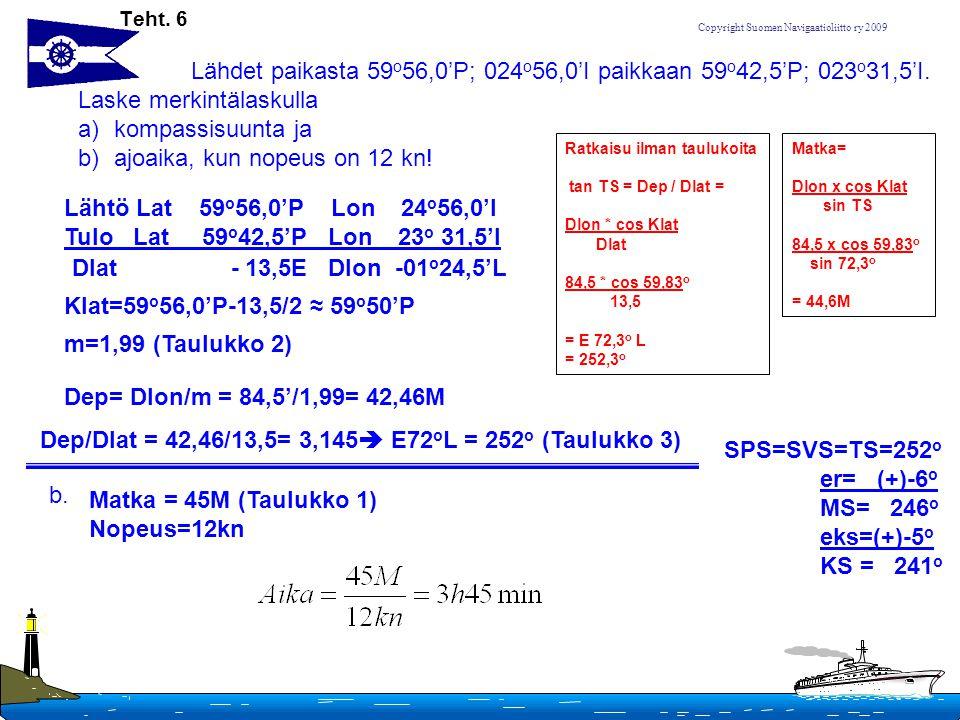 Dep/Dlat = 42,46/13,5= 3,145 E72oL = 252o (Taulukko 3)