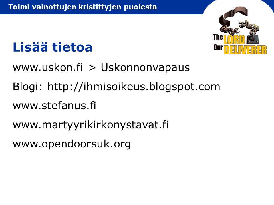 Lisää tietoa www.uskon.fi > Uskonnonvapaus
