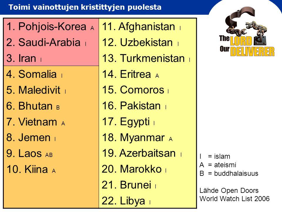 1. Pohjois-Korea A 2. Saudi-Arabia I 3. Iran I 11. Afghanistan I