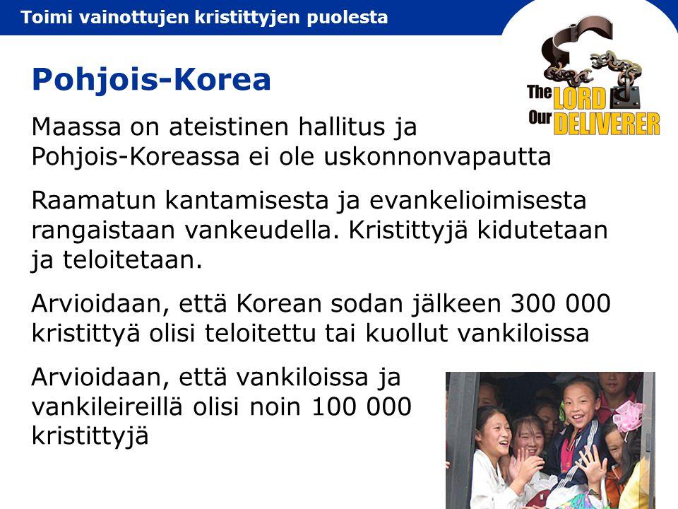 Pohjois-Korea Maassa on ateistinen hallitus ja Pohjois-Koreassa ei ole uskonnonvapautta.