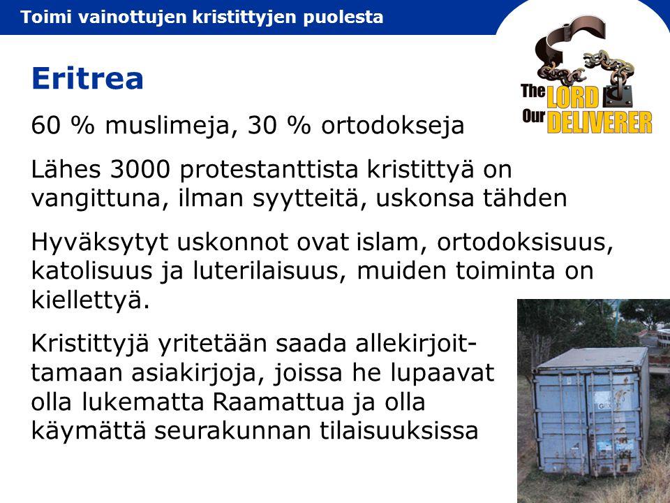 Eritrea 60 % muslimeja, 30 % ortodokseja