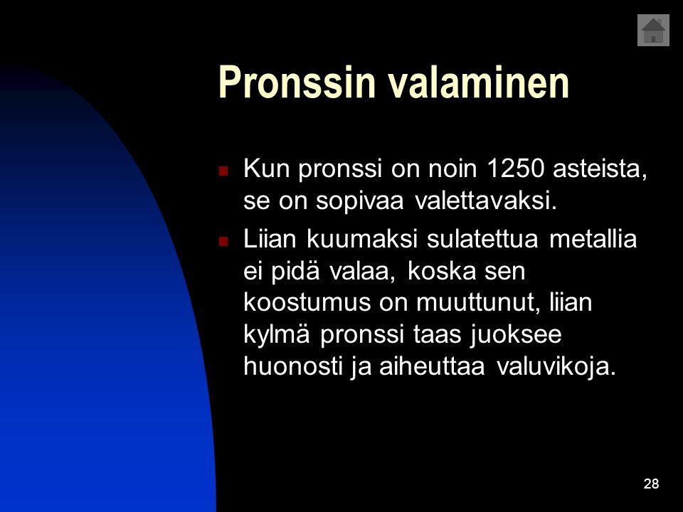 Pronssin valaminen Kun pronssi on noin 1250 asteista, se on sopivaa valettavaksi.