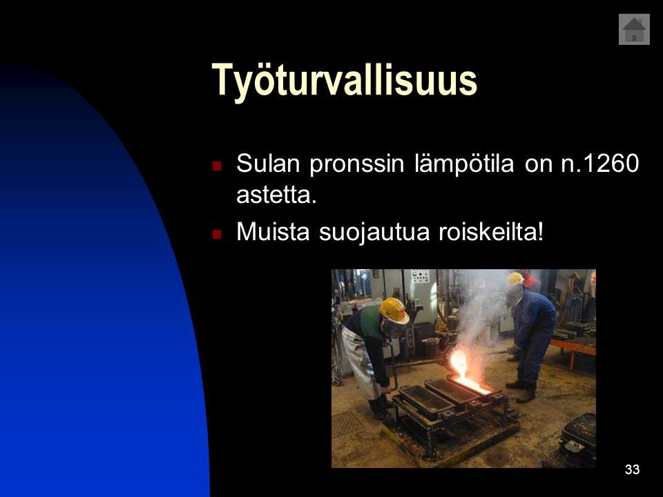 Työturvallisuus Sulan pronssin lämpötila on n.1260 astetta.
